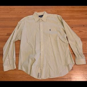 Polo Men's Button-up. Yellow w/ blue stripe. XL.